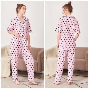 New Pink Heart Long Pajama Set